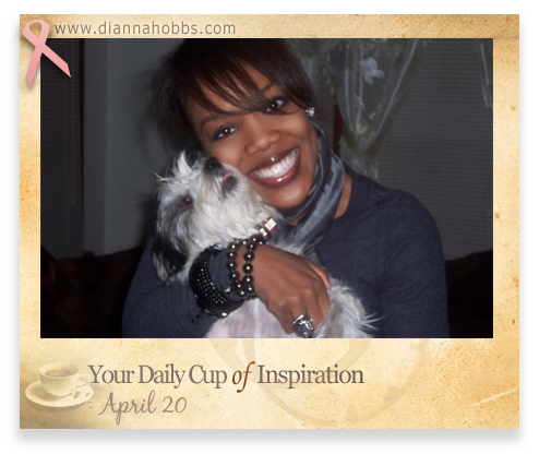 Dianna Hobbs posing with the family dog, Chip-Chip